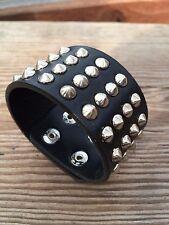 Metal Stud Spike Rivet Leather Bangle Cuff Bracelet Wristband Adjustable