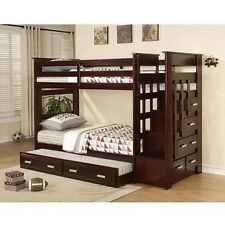 Twin Over Twin Bunk Bed Trundle Ladder Children Bedroom Wood Bed Stairs Modern