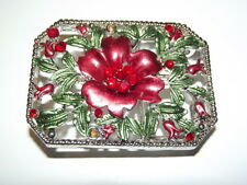 New Belt Buckle Red Hibiscus Flowers Rhinestones Bling