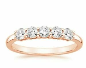 Diamond  Ring Wedding Band  14k Rose Gold 0.50 Carat  Shared Prong 5 stones