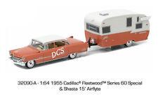Luz Verde 1955 Cadillac Fleetwood Serie 60 & Shasta Airflyte 1/64 Coche 32090a