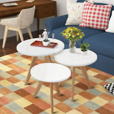 High Gloss White Coffee Table Nest of 3 Tables Unit Scandinavian Retro Furniture