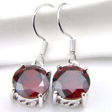 Bright Natural Handmade Fire Red Garnet Gemstone Silver Dangle Hook Earrings