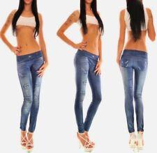 Skinny Blue Denim Jeans Print Leggings Stretch Sexy Jeggings Pencil Pants T81