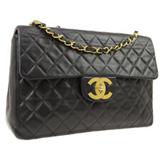 CHANEL Quilted CC Jumbo XL Double Chain Shoulder Bag Black Leather A50751