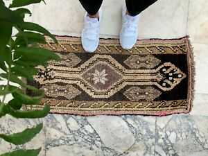 "Handmade Vintage Anatolian Turkish Small Tribal Carpet Bath Mat 38""x18"""