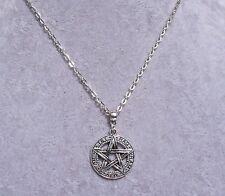 Tibetan Silver Pentagram Pendant Tibetan Silver Chain Necklace.Handmade