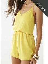 NWT Yellow Forever 21 Satin Romper S.
