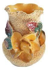 Vintage Sand Majolica Ceramic Vase w/ Applied Flowers