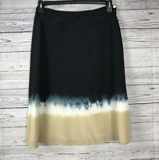 AKS AMY K SU Women's Navy / White / Tan Fully Lined Silk Blend A-Line Skirt Sz 8