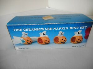 Lot of 4 Halloween Ghost in Jack-O-Lantern Pumpkin Ceramic Napkin Rings