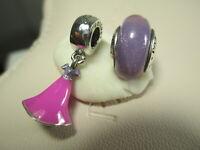 Lots of 2 Authentic Pandora Disney Rapunzel Purple Charm & Murano Glass 925 Ale