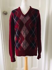 "Moffat Woollens Mens Red Wool Argyle Jumper 38"" Scotland Diamond Print"
