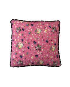 """16""""  Vintage style Pink Floral Black pompom trim scatter cushion covers sham"""