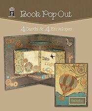4 Cards 4 Envelopes BOOK POP OUT Card Making Craft HOT OFF THE PRESS 3461 New