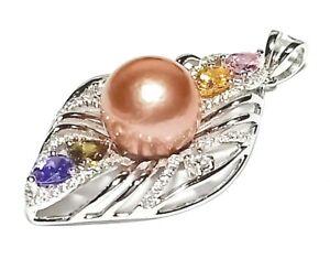 Elegant Multiple Gems Natural Peach Rose Pink 11.5mm Round Pearl Vintage Pendant