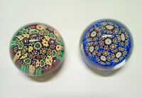 2 Small Paperweight Sulfide Millefiori Crystal Baccarat Antique
