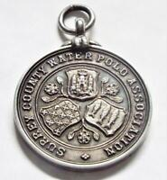 Surrey County Water Polo Association 1906 Hallmarked Silver Antique Medal