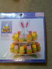 "NIP WILTON BUNNY TREAT & EGG STAND 2-TIER TREAT STAND 10"" WIDE X 11.25"" HIGH"
