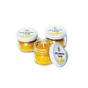 Pure Beeswax Candles 100% Natural - Glass Jar 30ml - Pack of 3