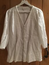 STUNNING LADIES EAST DESIGNER LINEN WHITE TOP SHIRT BLOUSE UK 20