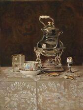 Max Schödl Still life with Samovar and Chinese tea bowl Canvas Print