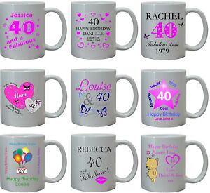 PERSONALISED 40th BIRTHDAY MUG CUP GIFT ANY NAME AGE 40 MUM AUNTIE SISTER FRIEND