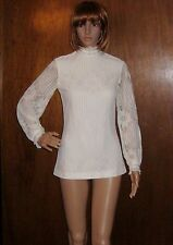 Vintage Victorian Look Top Blouse Micro Mini Tunic Cream Lace Sheer Sleeve Small