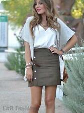 ZARA FAUX SUEDE MINI SKIRT WITH BUTTON DETAIL SIZE LARGE (B11)REF: 7608 114