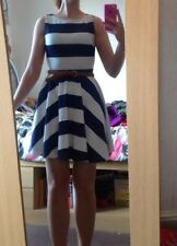 Nautical Miso Size 10 Skater Dress Blue And White Stripes With Belt