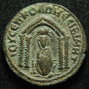 Otacilia Severa AE25 Nisibis, Mesopotamia, r. Tyche within temple, 244-249AD