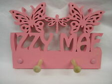 wooden coat pegs hooks/hook hangers personalised childrens bedroom names btf