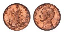 ITALIA Vittorio Emanuele III 1 Centesimo Prora 1909 - Periziato FDC Rame Rosso