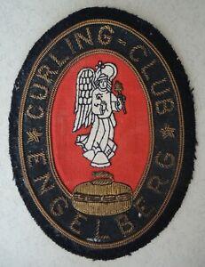 alter Aufnäher Patch Kutte Curling Club Engelberg Schweiz # 8 x 10,5 cm