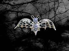 HALLOWEEN BLACK BAT WINGS GIRL WOMAN MAN PIN BROOCH~ADULT COSTUME ACCESSORY