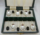 CASED SET 6 STERLING SILVER DEMITASSE COFFEE SPOONS 1950 COOPER BROTHERS & SONS