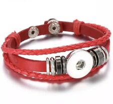 Triple Strand Black Braided Red Leather Snap Button Charm Bracelet ~ New
