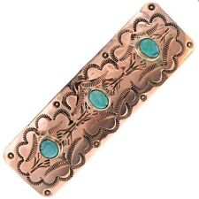 Navajo Copper Hair Barrette Southwest Turquoise Ladies Accessory