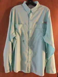 Mens COLUMBIA PFG OMNI SHADE L/S Button Vented Fishing Shirt Large Teal Blue EUC