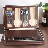 8 Watch Leather Travel Zippered Storage Organizer Case Padded Bag Gift UK