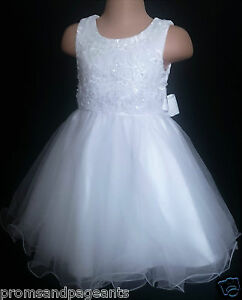 White Communion Flower Girl Bridesmaid Prom Christening Party Dress 0-6m to 13y