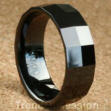 Black Ceramic Ring Mens Wedding Band Size 11.5