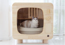 Premium Wood Cat Litter Box Furniture TV Shape DIY Cat Washroom