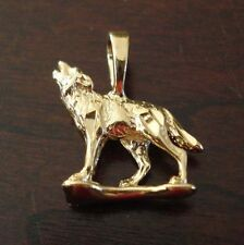 14K 14KT Double Gold Filled and Bonded 3D Dog Wolf Charm Pendant 50 mils of Gold