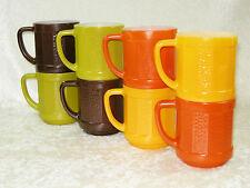 VINTAGE FEDERAL GLASS BARREL COFFEE MUGS SET OF 8 GREEN YELLOW ORANGE BROWN