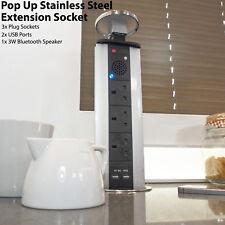 Torre de extensión Bluetooth pop-up – Puertos Usb & Altavoz – Acero Banda Oculto Zócalo