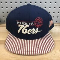 Philadelphia 76ers NBA Basketball Mitchell & Ness Snap Back Retro Cap EUC Hat