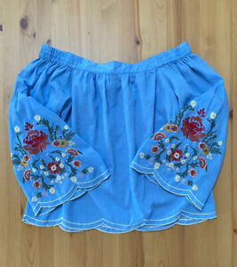 Umgee Women's Blue Off Shoulder Floral Flowers Embroidered Blouse Top Sz S