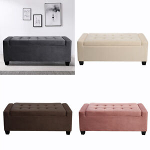 Chesterfield VELVET Window Seat Extra Large Storage Box Bench Footstool Ottoman