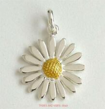 DAISY Pendant 925 Sterling Silver + Gold Plate Sea Gems flower Jewellery NEW
